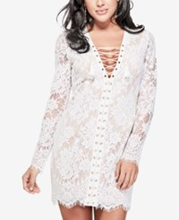 Guess Lace Up Lace Mini Dress Brilliant White