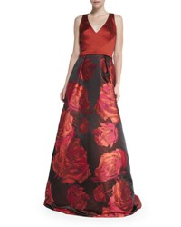 Theia Sleeveless Combo Floral Skirt Ball Gown Sierra Rose