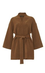 Sally Lapointe Cashmere Wool Wrap Cardigan Brown