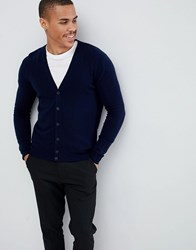 United Colors Of Benetton 100 Merino Cardigan In Navy
