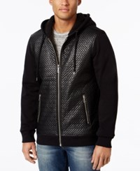 Guess Men's Roy Chevron Quilted Hooded Jacket Jet Black
