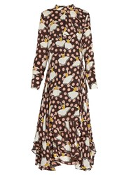 Marni Pirouette Print Silk Georgette Dress Brown Multi