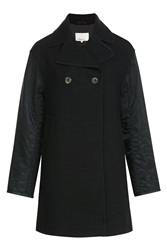 3.1 Phillip Lim Wool Coat With Contrast Sleeves Black