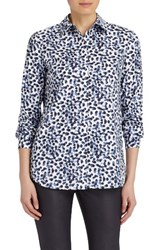 Lafayette 148 New York Women's Brody Print Stretch Cotton Blouse