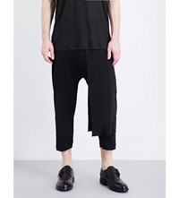 Isabel Benenato Slouchy Wool Blend Trousers Black