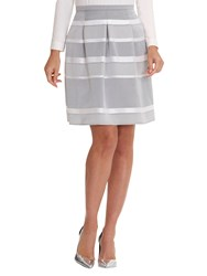 Betty Barclay Stripe Satin Finish Skirt Grey Cream