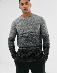 Only And Sons Ombre Crew Neck Knitted Jumper In Grey