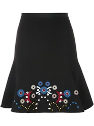 Peter Pilotto Embroidered A Line Skirt Black