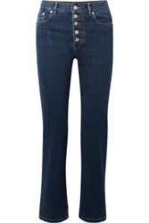 Joseph Den High Rise Straight Leg Jeans Mid Denim