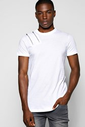 Boohoo Fit Zip T Shirt With Scoop Hem White