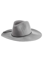 Emilio Pucci Felted Merino Wool Fedora With Leather Trim Grey