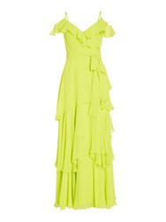 Tahari By Arthur S. Levine Asl Tiered Chiffon Cold Shoulder Gown Yellow