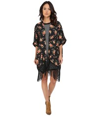 Bb Dakota Rosalynn Rose Revival Printed Crepon And Black Fringe Kimono Multi Women's Clothing