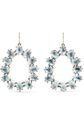 Larkspur And Hawk Caterina Small Rhodium Dipped Quartz Earrings Light Blue