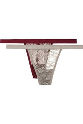 Anine Bing Isla Set Of Two Stretch Lace Thongs Silver