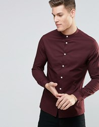 Asos Skinny Shirt In Dark Plum With Grandad Collar And Long Sleeves Dark Plum Purple