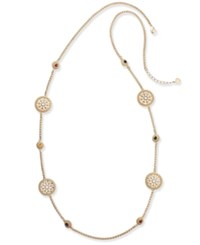 Charter Club Gold Tone Colored Stone And Flower Station Necklace Created For Macy's