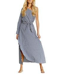 Stylekeepers Unforgettable One Shoulder Gingham Maxi Dress Blue White