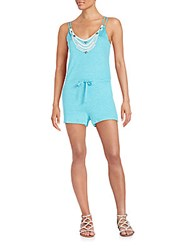 Mlv Reese Beaded Linen Short Jumpsuit Teal
