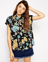 Asos Grown On Sleeve Blouse In Vintage Floral Print Multi