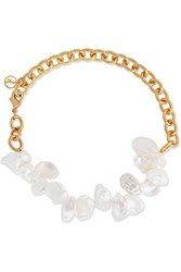 Anissa Kermiche Two Faced Shelley Gold Plated Pearl Anklet One Size