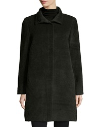 Sofia Cashmere Funnel Neck Single Breasted Wool Blend Coat