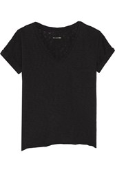 Rag And Bone Distressed Cotton Jersey Top Black
