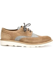 Eleventy Contrast Panel Brogues Brown
