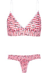 Hanky Panky Printed Stretch Lace Soft Cup Bra And Thong Set Red