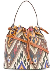 Etro Ikat Drawstring Bag Women Cotton Calf Leather Polyester Pvc One Size Brown