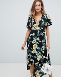 Missguided Wrap High Low Midi Dress In Black Floral