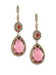 Alexander Mcqueen Crystal Double Drop Earrings Pink Multi
