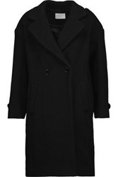 Sandro Woman Double Breasted Boiled Wool Blend Coat Black