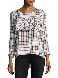Saks Fifth Avenue Plaid Ruffle Front Top Ivory Blue
