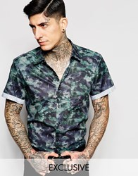 Reclaimed Vintage Smart Shirt In Military Print Green