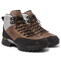 Roa Andreas Rubber And Shell Trimmed Distressed Nubuck Hiking Boots Brown