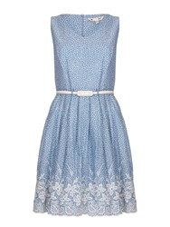 Yumi Embroidered Hem Belted Dress Blue
