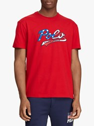 Ralph Lauren Polo Stars And Stripes Polo Logo T Shirt Red