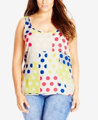 City Chic Plus Size Colored Polka Dot Top Ivory