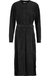 Tibi Belted Suede Midi Dress Midnight Blue