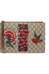 Gucci Merveilles Appliqued Coated Canvas And Leather Pouch Beige