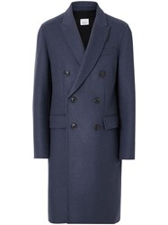 Burberry Double Faced Wool Cashmere Tailored Coat Blue