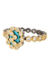 Freida Rothman Two Tone Turquoise Cutout Marquise Ring Size 8 Black