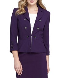 Tahari By Arthur S. Levine Petite Flared Double Breasted Jacket Aubergine