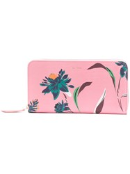 Paul Smith Pacific Rose Print Zip Around Purse Pink And Purple