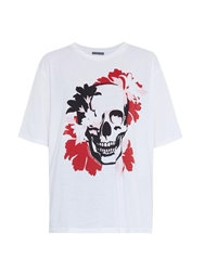 Alexander Mcqueen Bloom Skull Print Cotton T Shirt