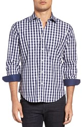 Bugatchi Men's Shaped Fit Check Sport Shirt Navy