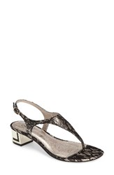 Adrianna Papell Women's Cassidy Sandal Platino Black Lace