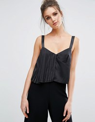 Missguided Pleated Detail Cami Top Black