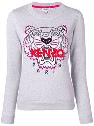 Kenzo Logo Embroidered Sweatshirt Grey